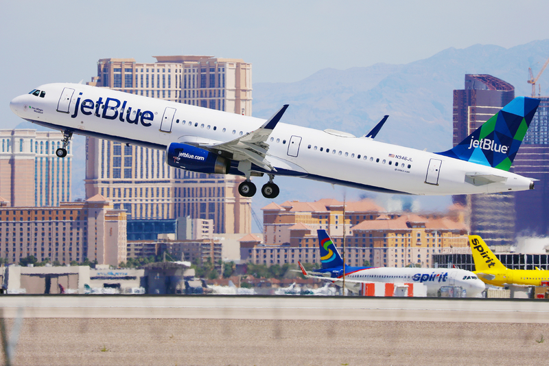 A Jet Blue aircraft taking off at McCarran International Airport.